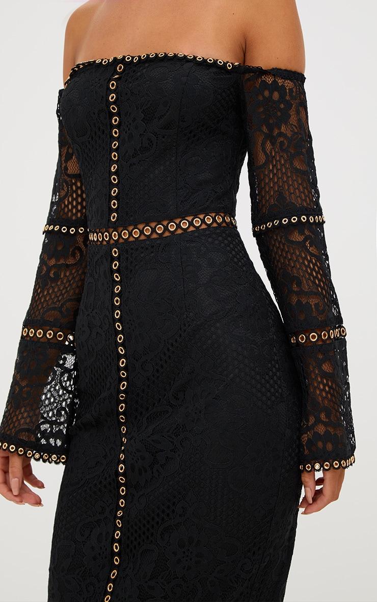 Black Lace Eyelet Detail Bardot Midi Dress  5