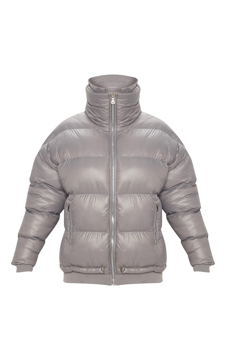 Grey Oversized Puffer Jacket with Zip Pockets 3