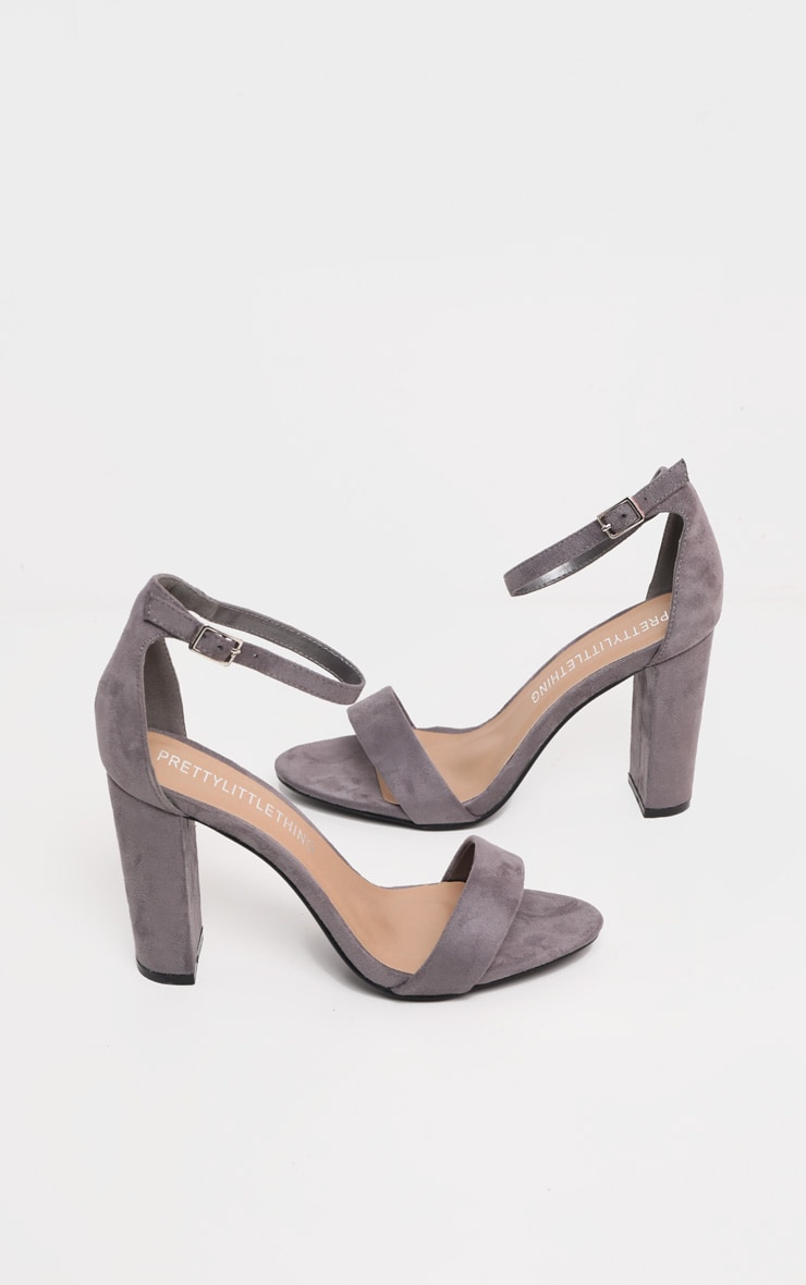May Grey Faux Suede Block Heeled Sandals 4