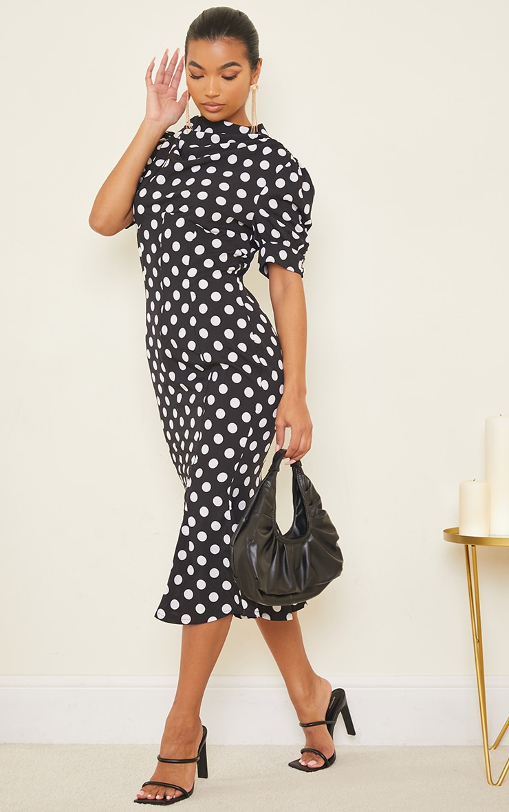 Black Polka Dot Puff Sleeve Draped Neck Midi Dress 3