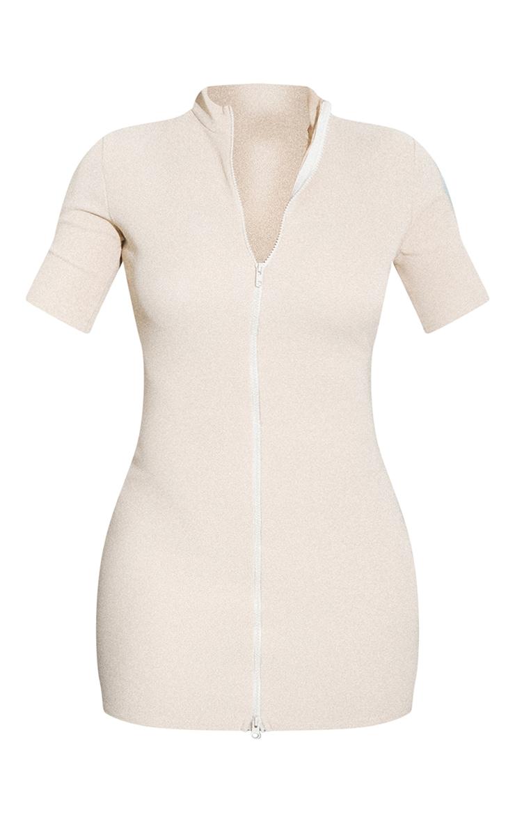 RENEW Beige Rib Double Zip Short Sleeve Bodycon Dress 5