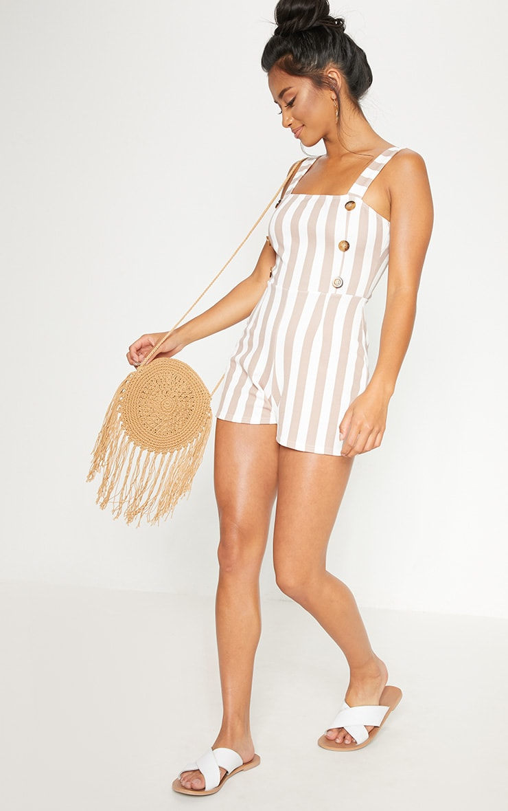 Petite Stone Button Detail Striped Playsuit 4
