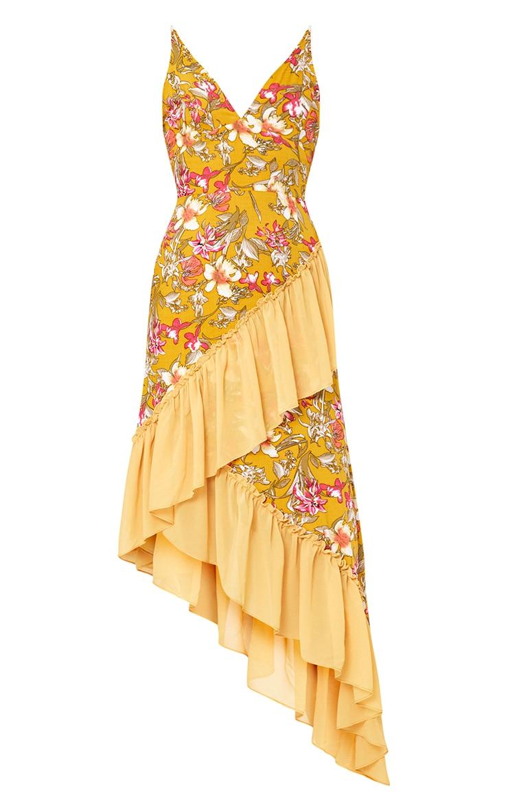 Mustard Floral Frill Detail Asymmetric Maxi Dress 3