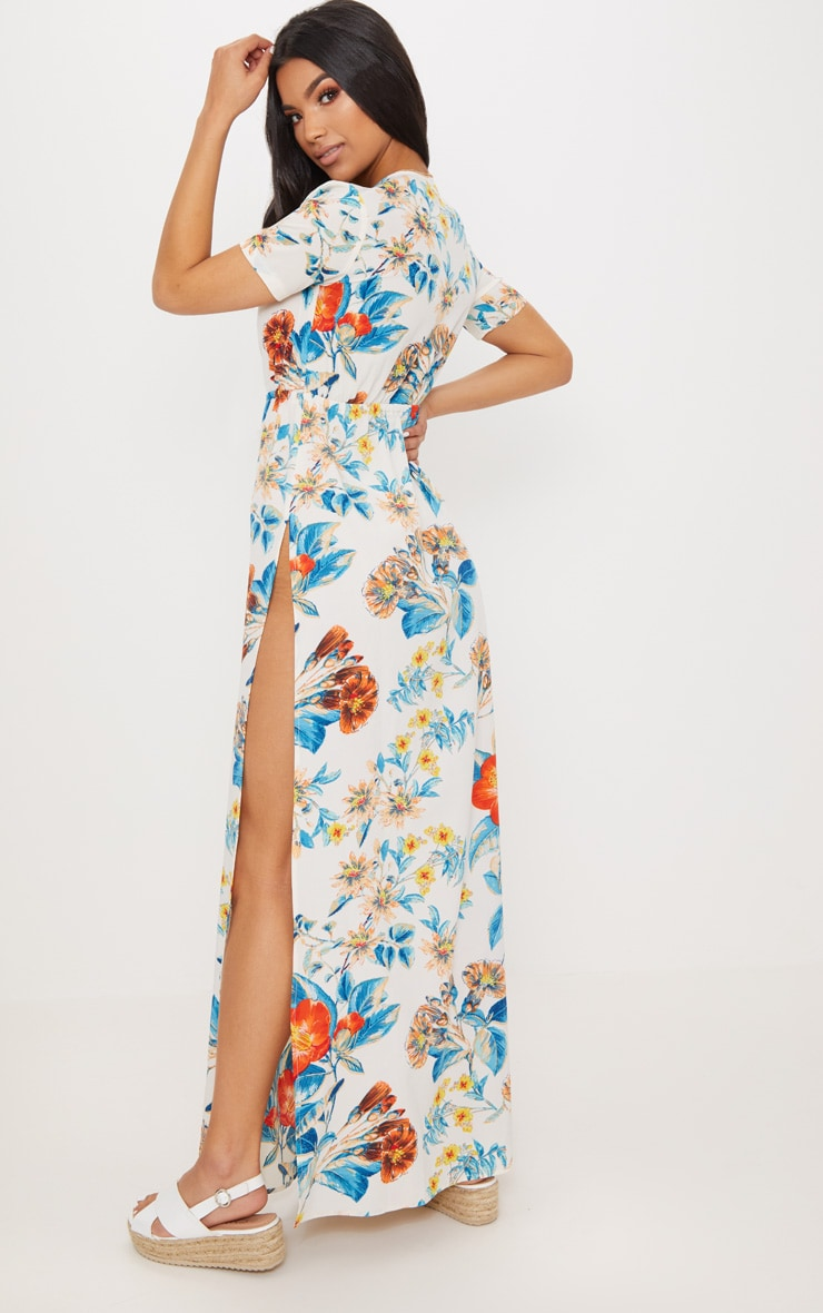 White Floral Print Plunge Maxi Dress 2