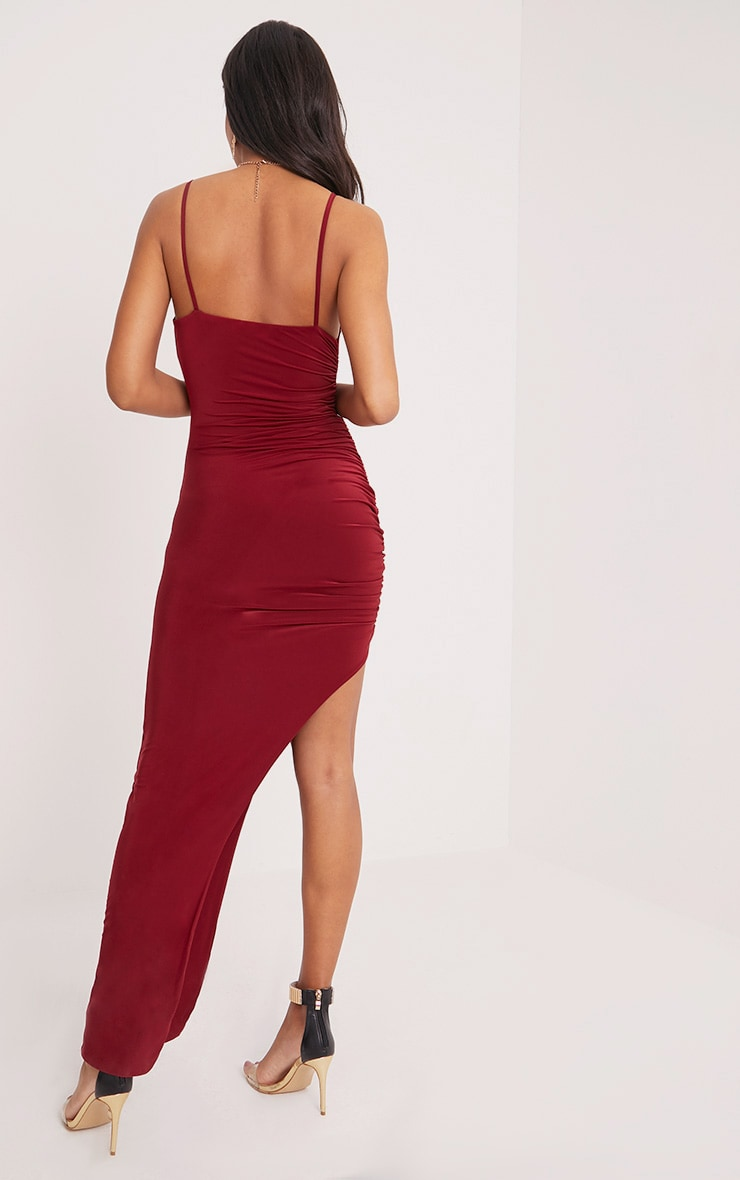 Albian Burgundy Strappy Ruched Maxi Dress 2