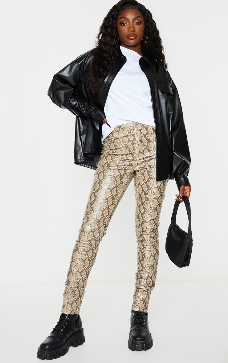 Stone Snake Faux Leather Skinny Pants 1