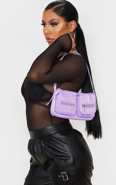 Lilac Nylon Double Pocket Shoulder Bag