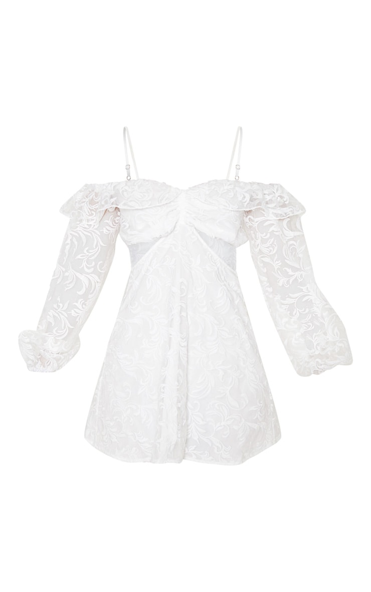 White Lace Cold Shoulder Plunge Shift Dress 3