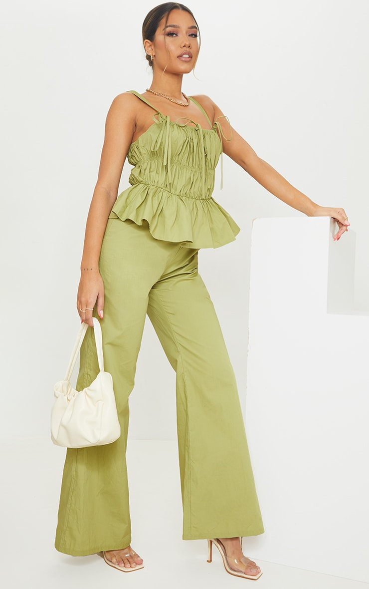 Khaki Ruched Bust Strappy Peplum Jumpsuit 3
