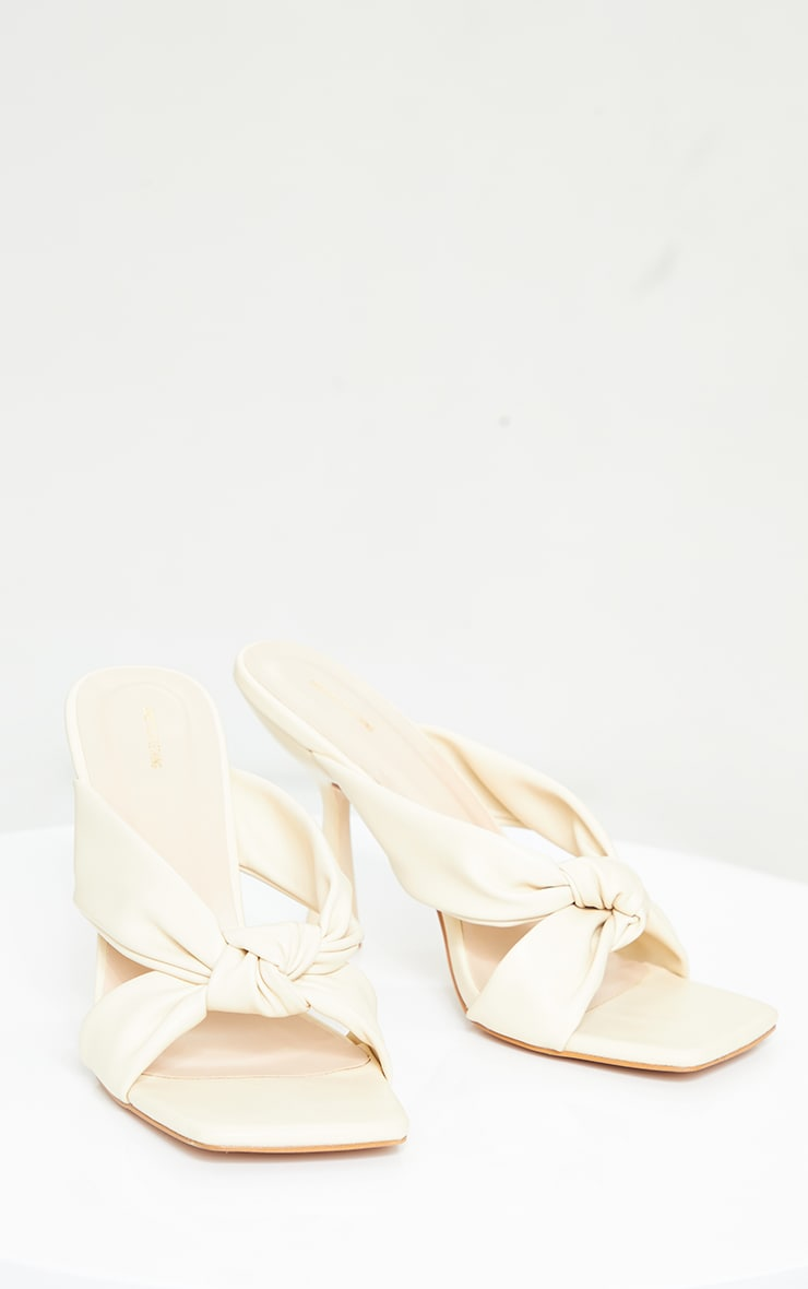 Cream Pu Knot Detail Strap Low Heeled Mules 3