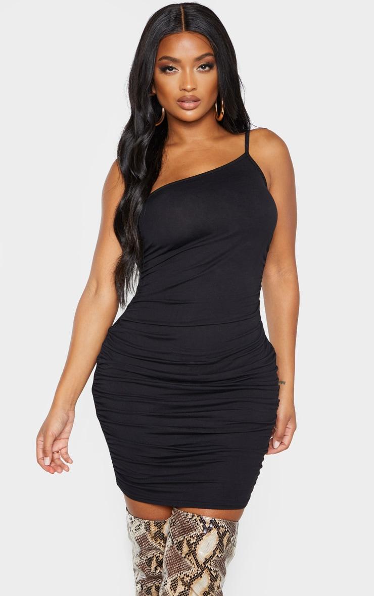 Shape Black Jersey Ruched Side Asymmetric Bodycon Dress 1