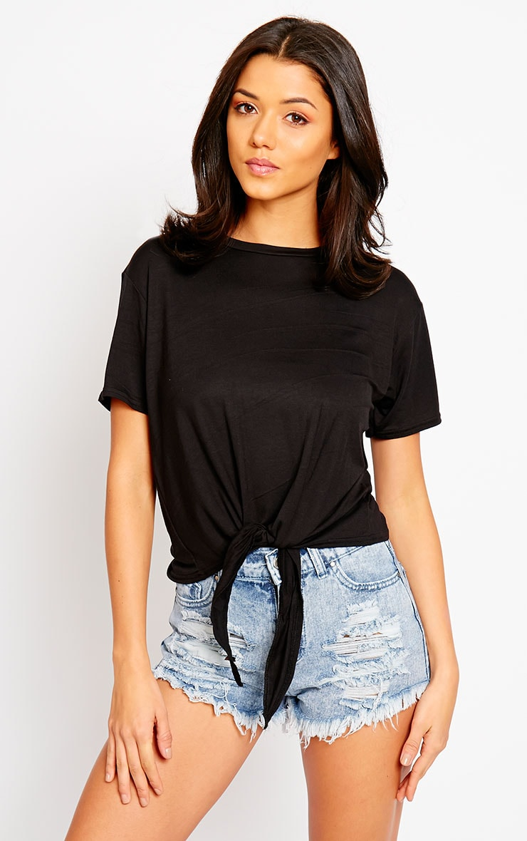 April Black Tie Front Crop Tee 1
