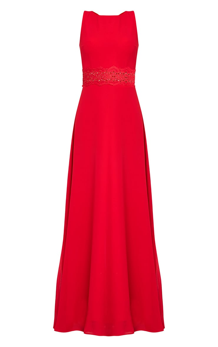 Caitlan Red Lace Insert Maxi Dress 2