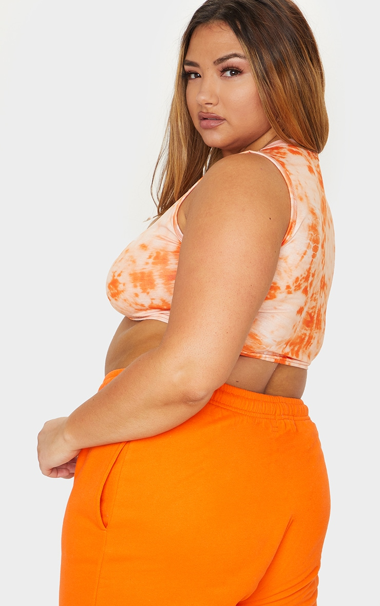 Plus Orange NHS Tie Dye Love Crop Top 2