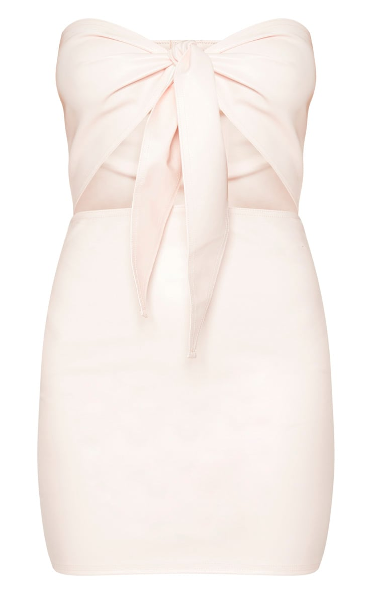 Nude PU Tie Front Cut Out Bodycon Dress 3
