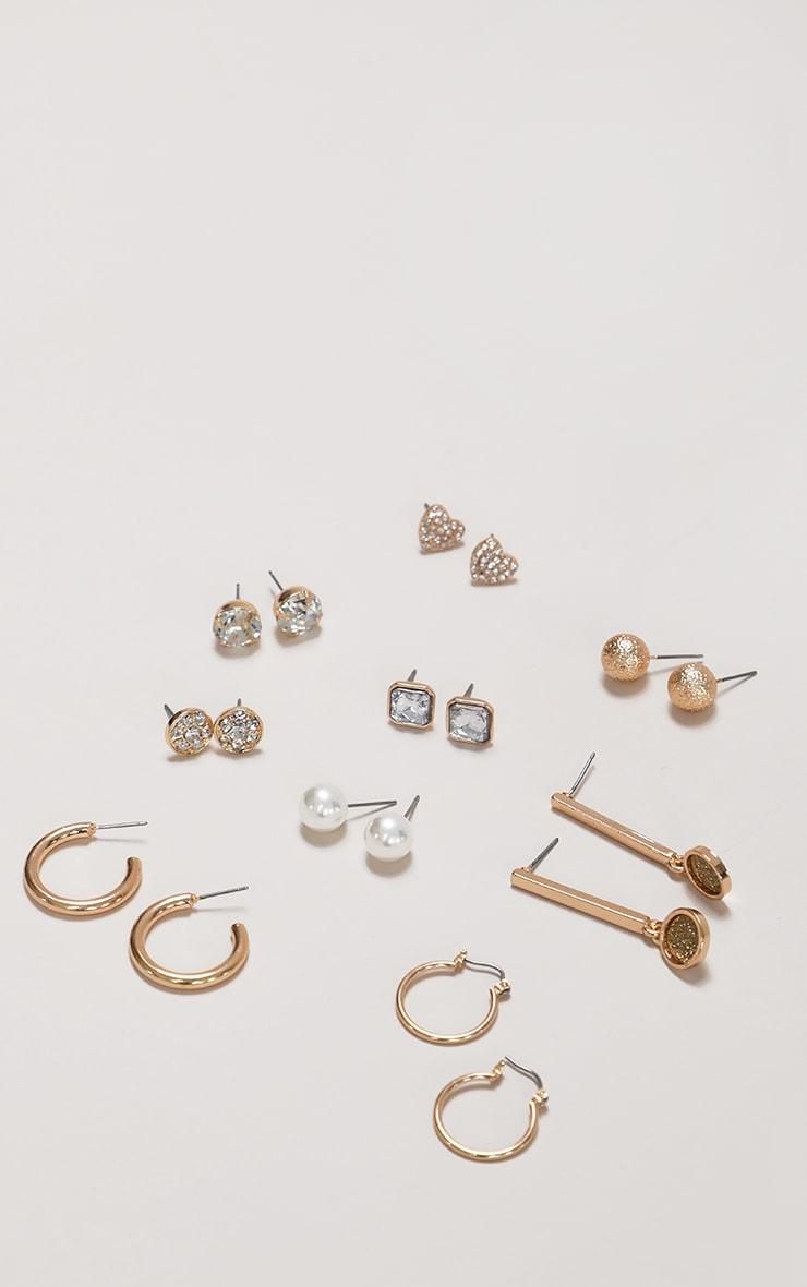 Gold Multi Hoop and Stud 9 Pack Earrings 2