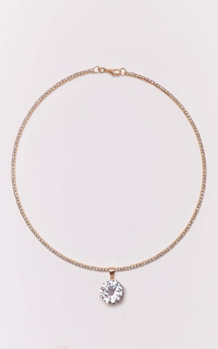 Trista Gold Diamante Drop Choker 4