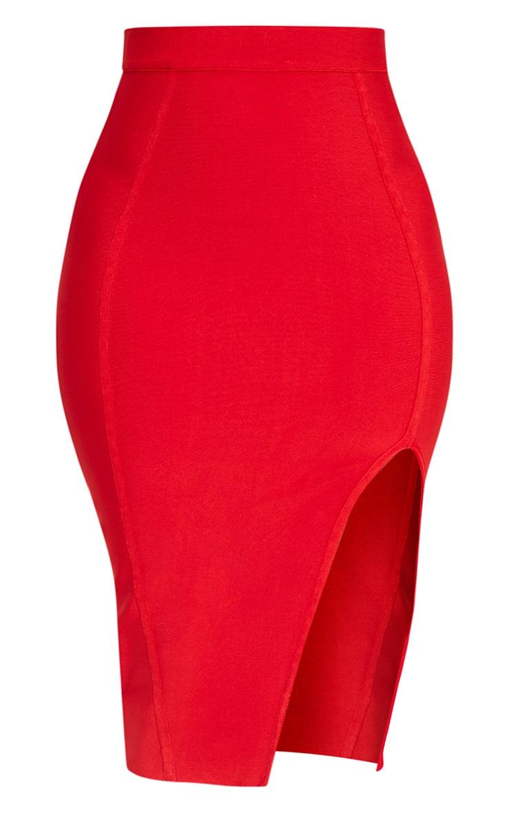 Caitlyn Red Bandage Midi Skirt 3