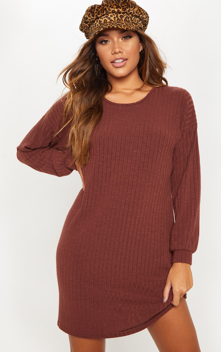 Chocolate Wide Ribbed Oversized Jumper Dress 1