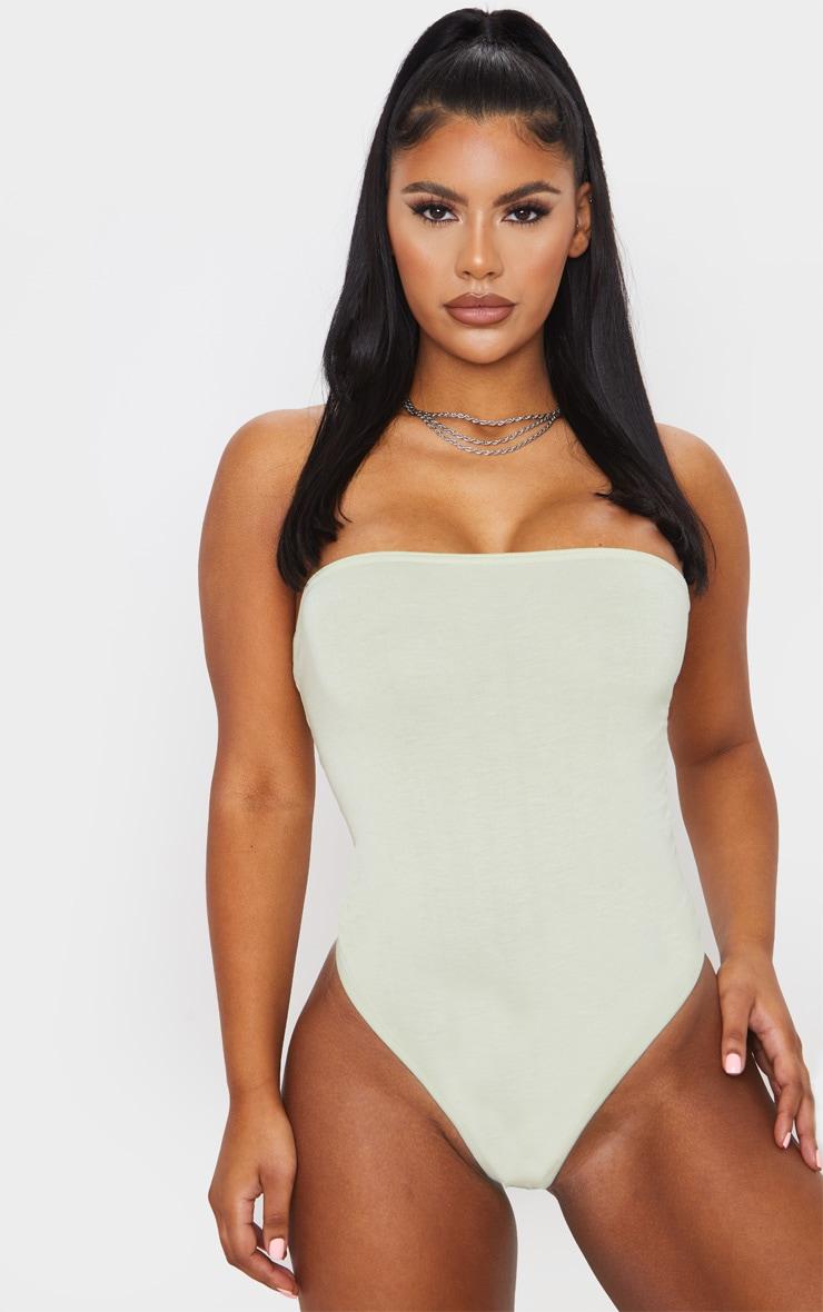 Sage Green Basic Bandeau Bodysuit 2