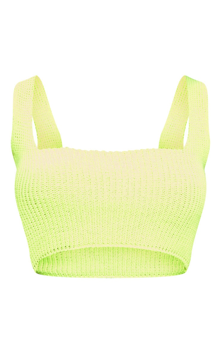 Neon Lime Square Neck Knitted Top  3