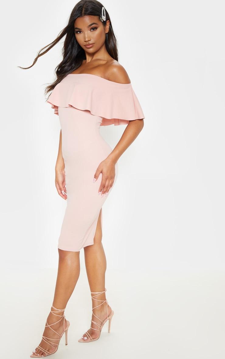 Celinea Blush Bardot Frill Midi Dress 5