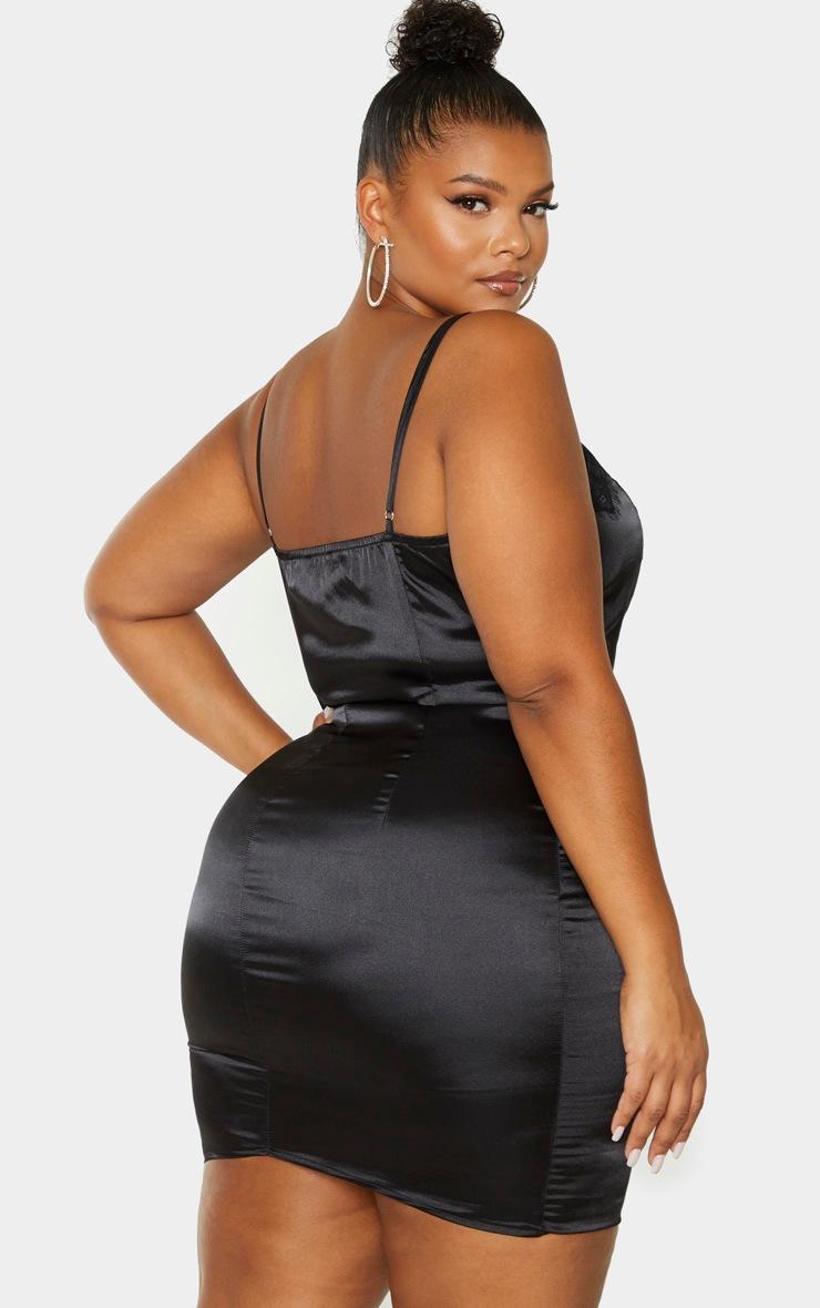 Plus Black Lace Trim Bodycon Dress 2