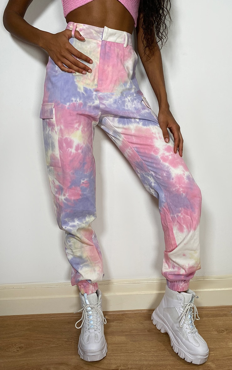 Multi Pastel Tie Dye Cargo Trousers 2