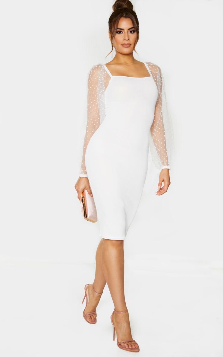 Tall White Polka Dot Organza Sleeve Midi Dress 3