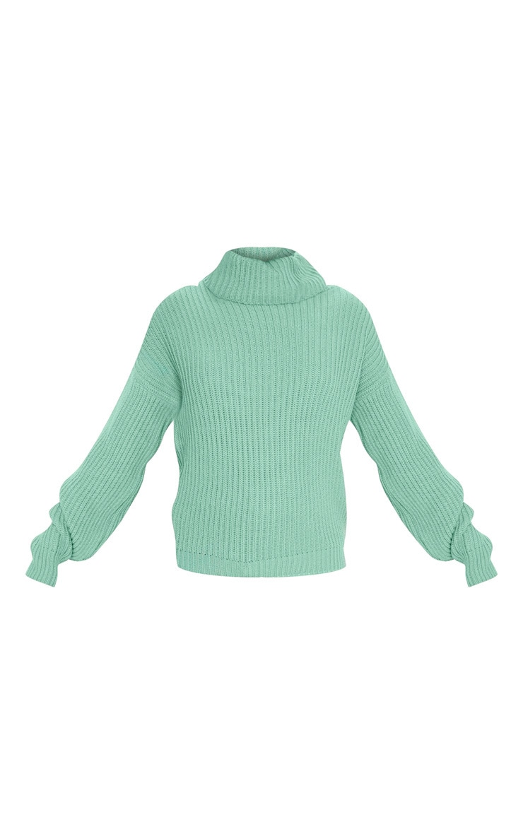 Sage Green Rib Oversized Roll Neck Jumper 3