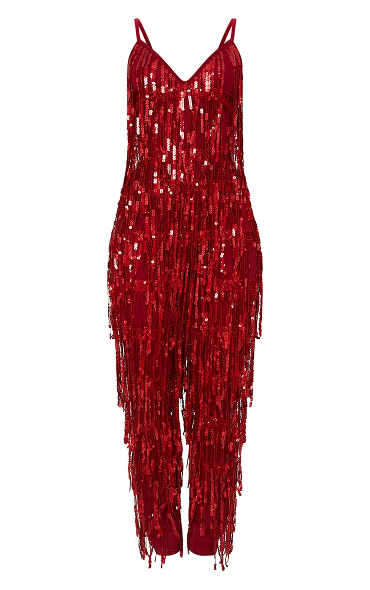 Red Tassel Sequin Jumpsuit 3