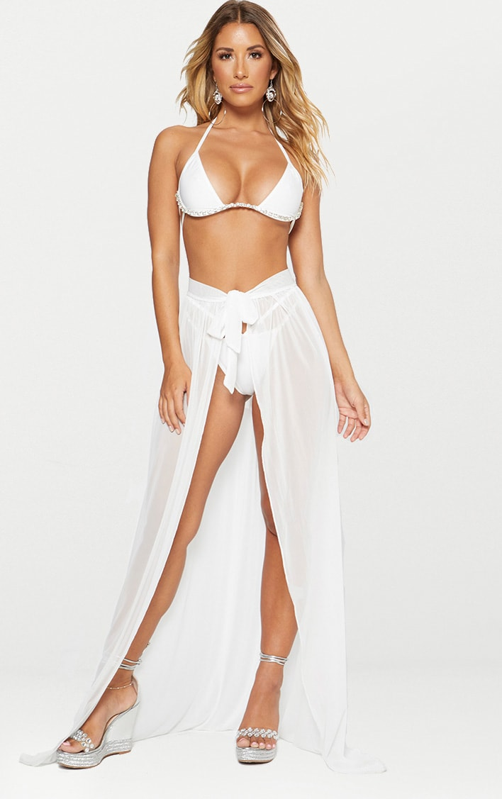 White Tie Side Maxi Beach Skirt 1