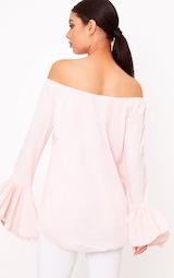 6d81e654fc7b1 Yadira Pink Bardot Flute Sleeve Shirt image 2