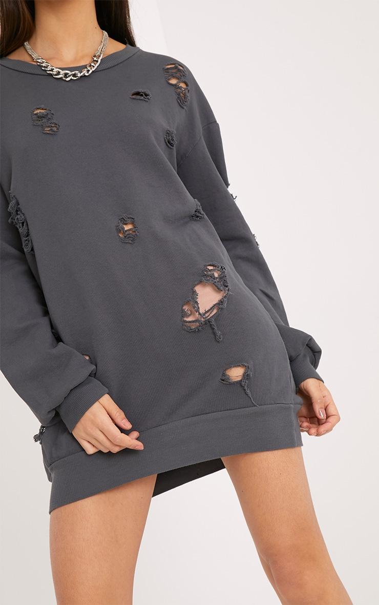 Kynarr Charcoal Distressed Jumper Dress 5