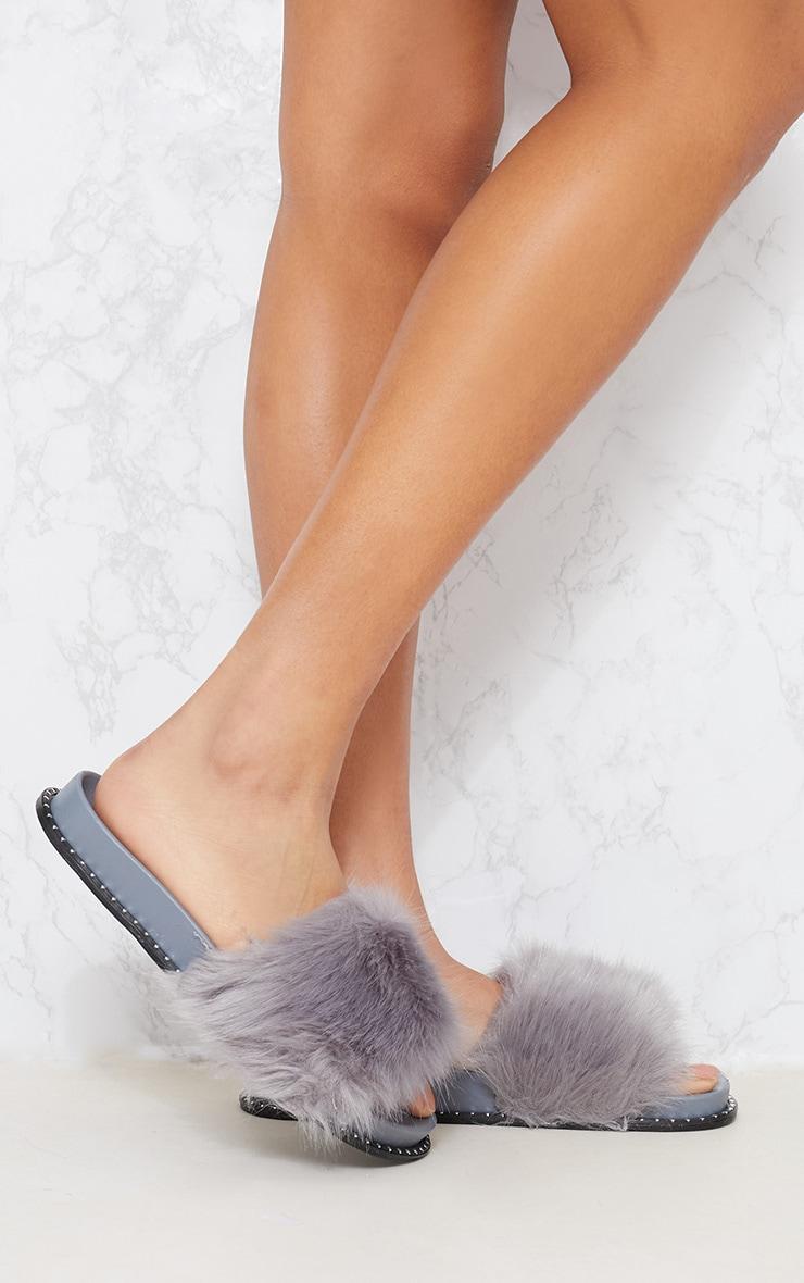 Grey Faux Fur Studded Sliders 1