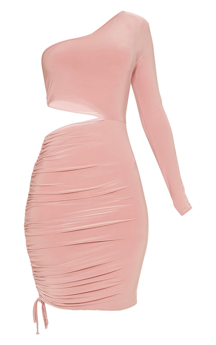 Rose Slinky Cut Out Ruched One Sleeve Bodycon Dress 3