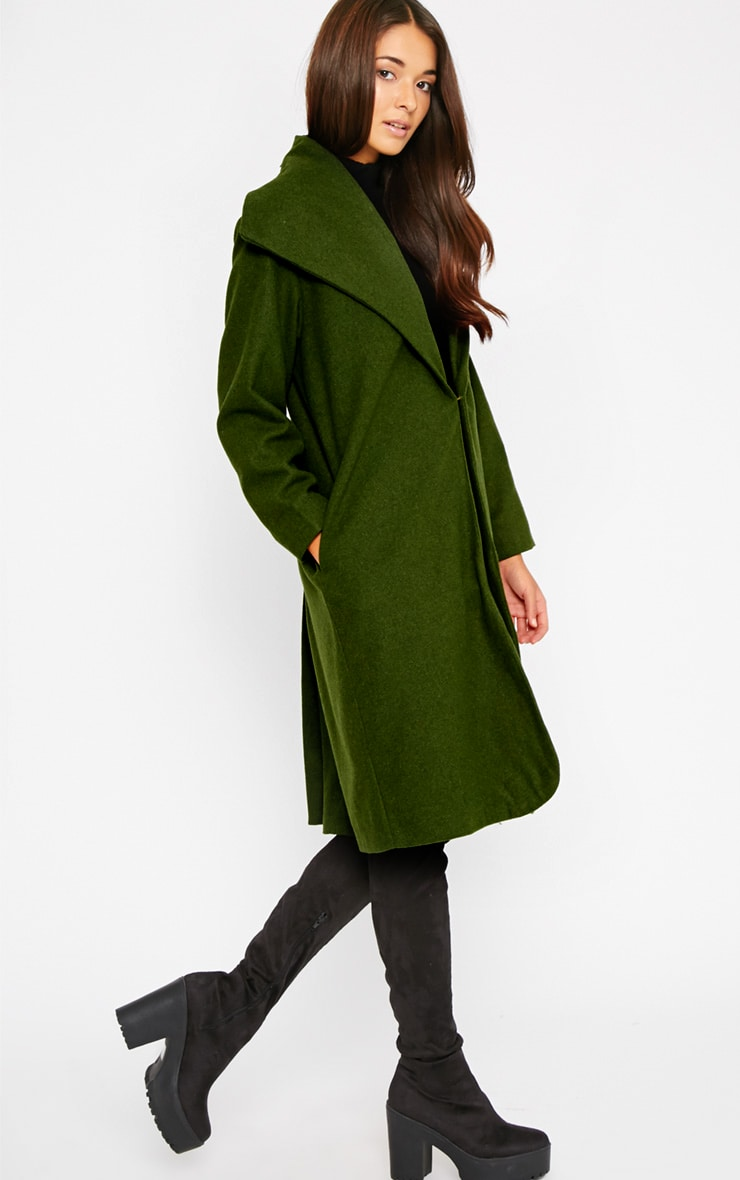 Gaia Green Brushed Wool Premium Waterfall Coat 6