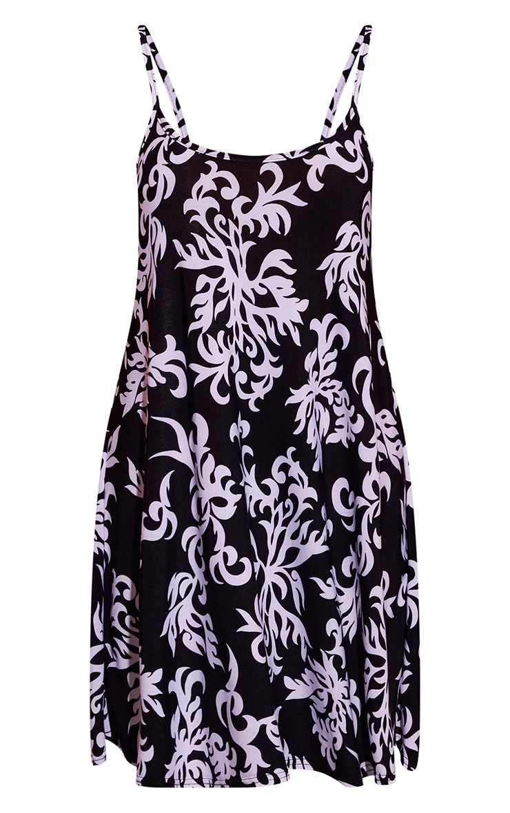 Black Baroque Print Strappy Smock Dress 3