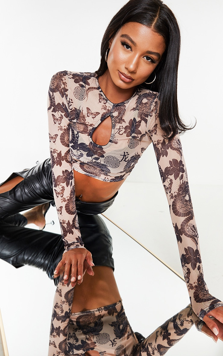 Nude Mesh Print Key Hole Long Sleeve Crop Top 1