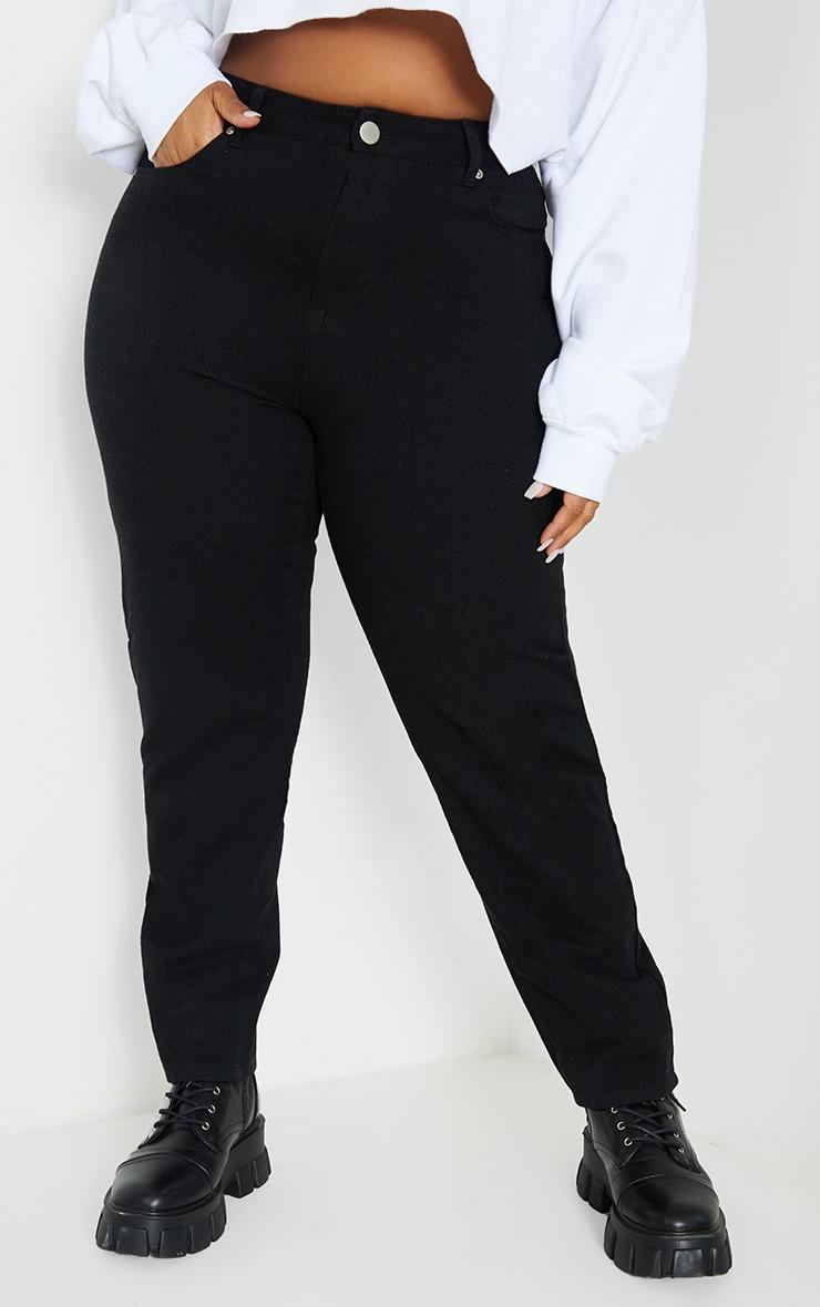 Plus Black Basic Straight Leg Jeans 2