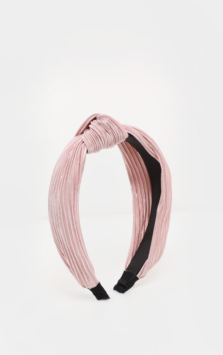 Pale Pink Pleated Knotted Head Band 2