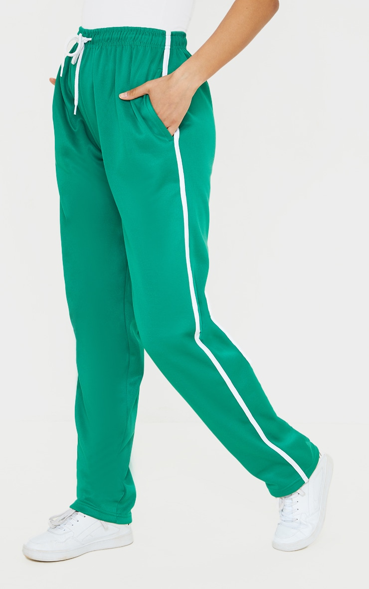 Deep Green Tri Cot Side Stripe Wide Leg Joggers 2