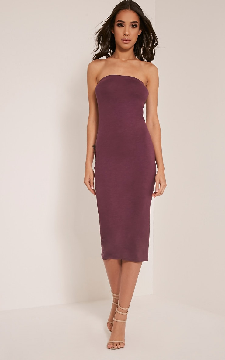 Basic Aubergine Jersey Bandeau Midi Dress 4