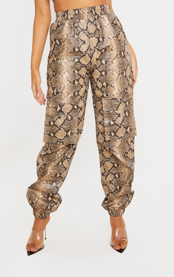 Taupe Snake Print Pocket Detail Cargo Pants 2
