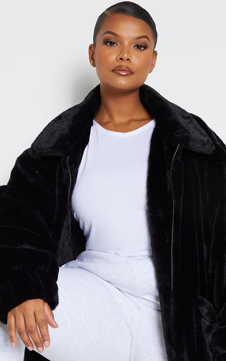 Plus Black Pocket Front Faux Fur Coat 4