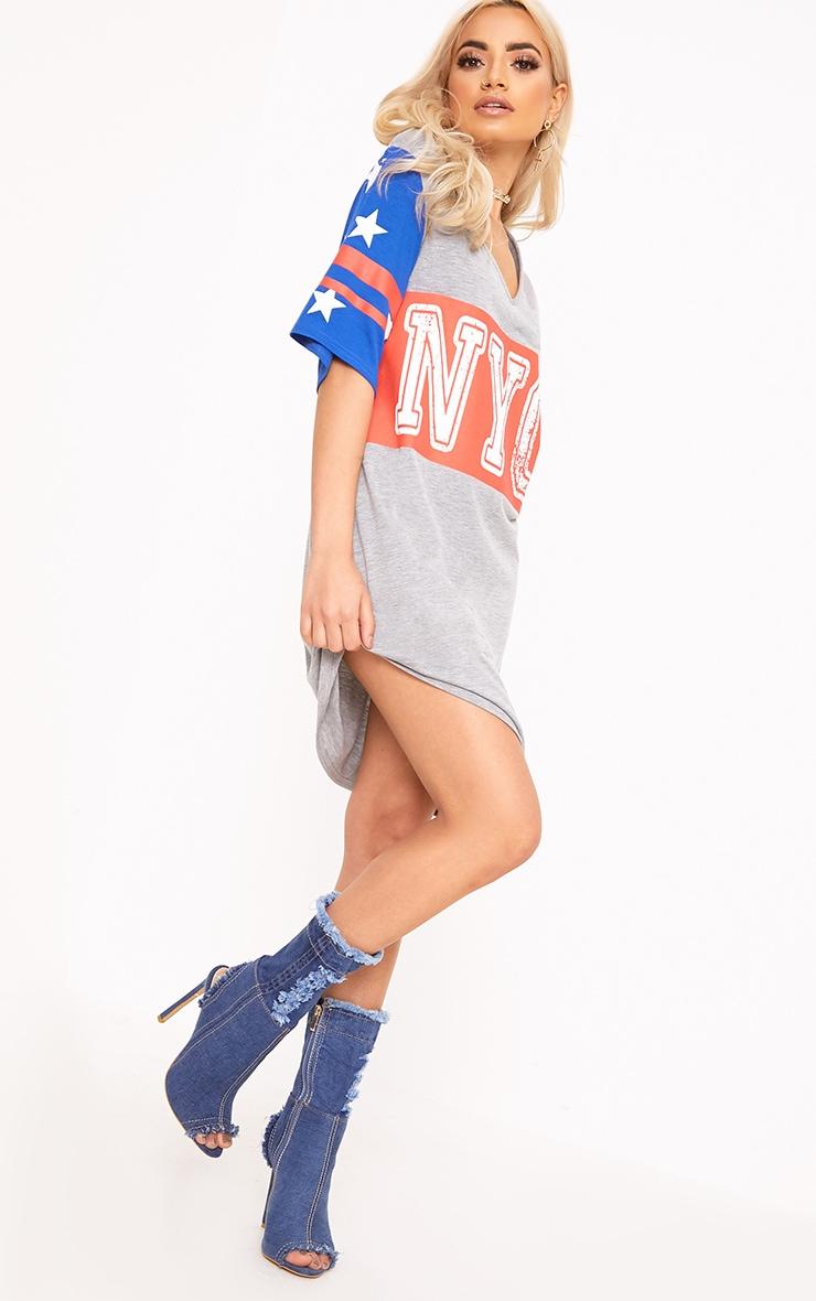Grey Marl NYC Star T Shirt Dress  3