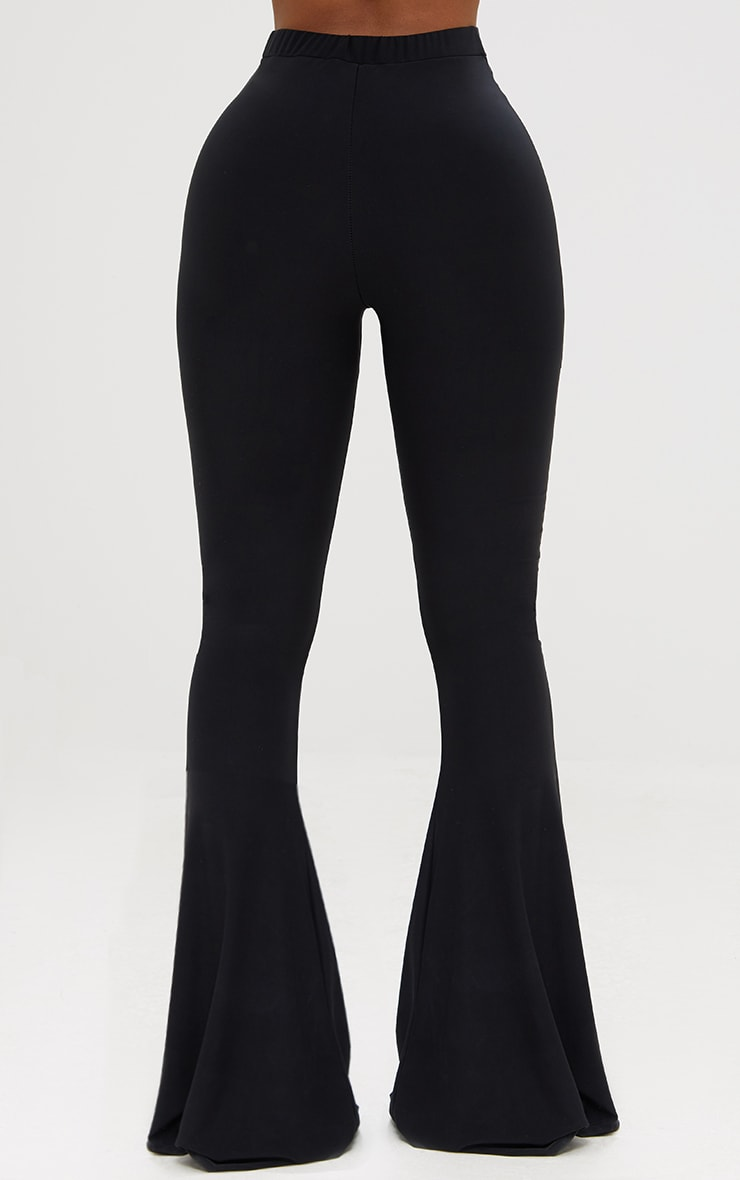 Shape Black Slinky Flared Leg Pants 4