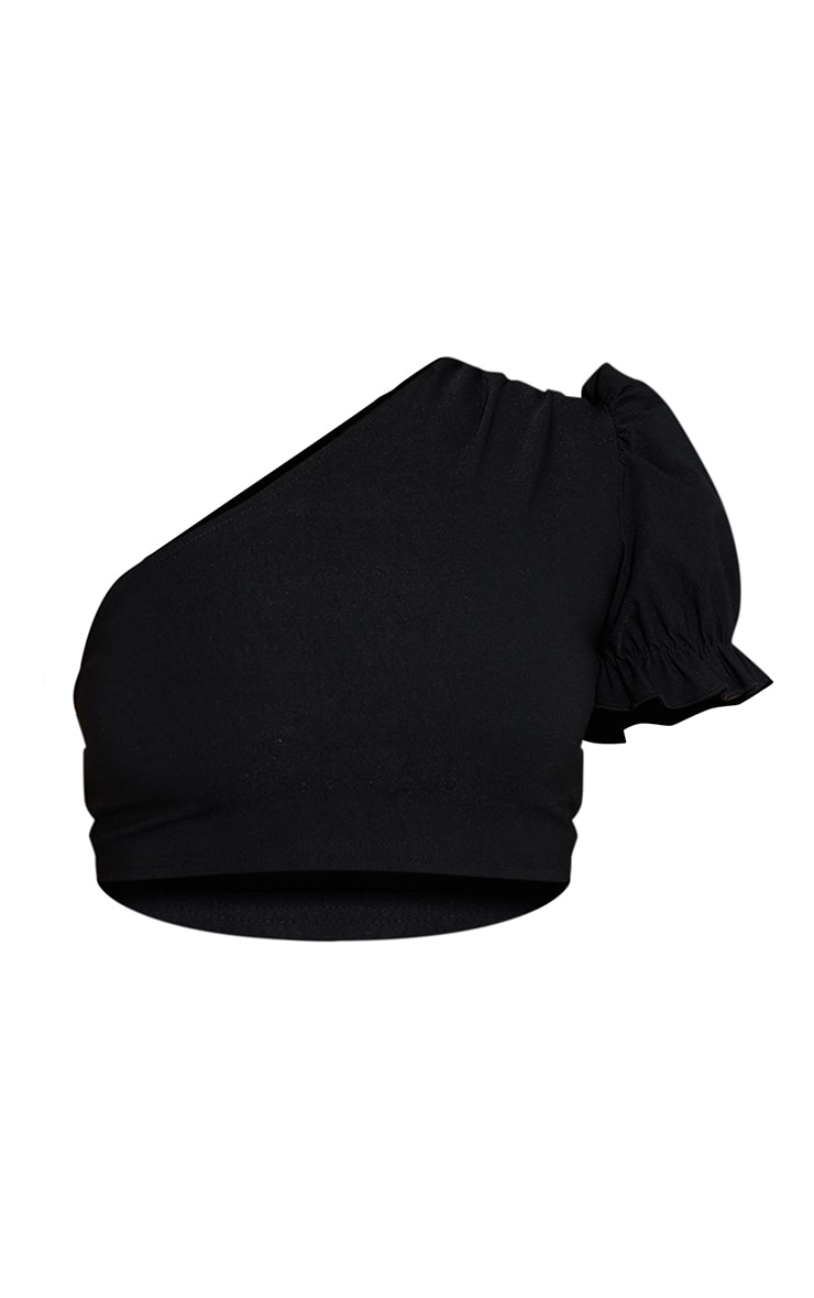 Black Woven Stretch One Shoulder Puff Sleeve Crop Top 5