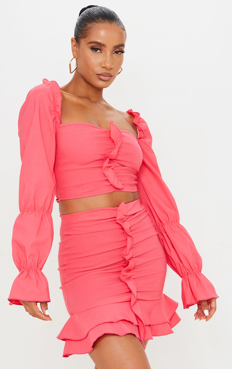 Hot Pink Woven Stretch Frill Ruched Front Long Sleeve Crop Top 1