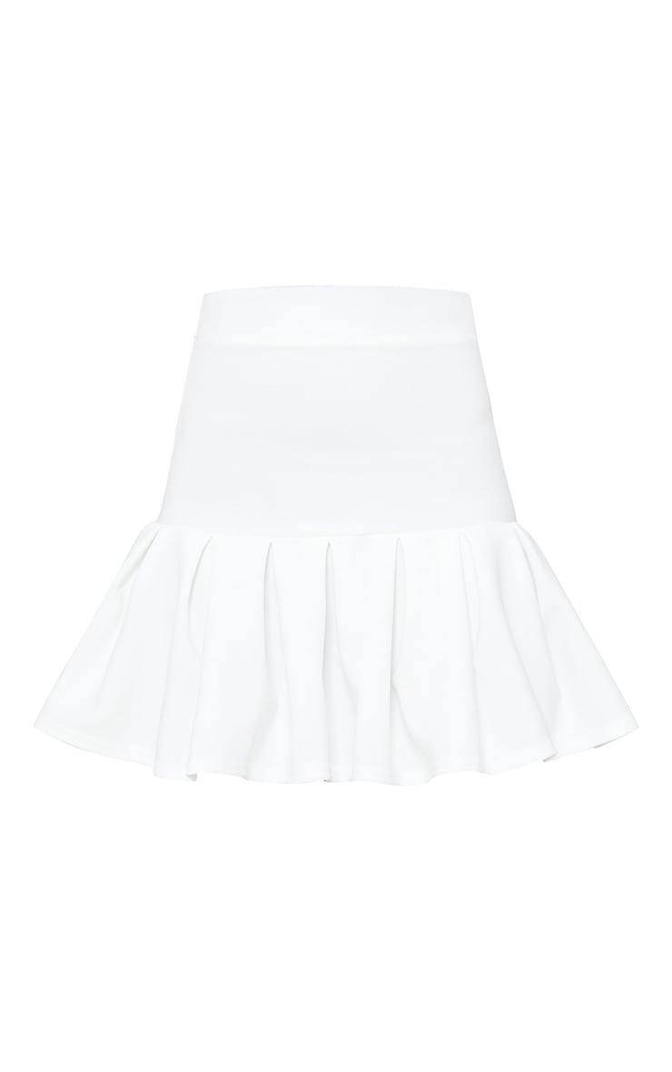 Petite White Pleated Step Hem Mini Skirt 6